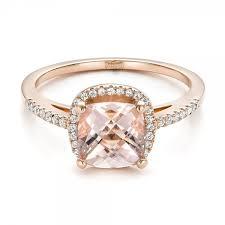 morganite gold engagement ring custom morganite and diamond halo gold engagement ring 101522