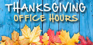 thanksgiving office hours kirk of the