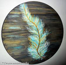 Old West Home Decor Feather Painting Gold And Turquoise Feather Wall Art Round