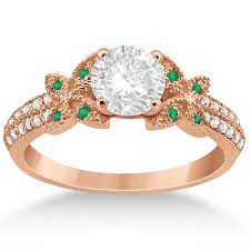rings butterfly images Diamond green emerald butterfly engagement ring 14k rose gold jpg