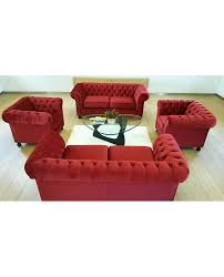red velvet chesterfield style 3 seater sofa city furniture hire