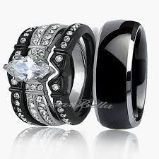 Ebay Wedding Rings by Her Stainless Steel Red Black Cz Engagement Wedding Ring Set Ebay