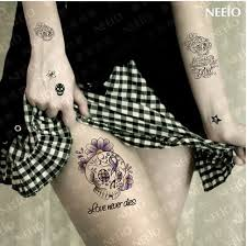 flowers words letter skull temporary tattoos for fingers wrist