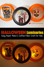 glowing halloween luminaries easy paper plate and coffee filter