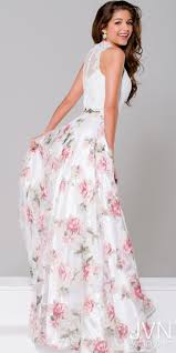 floral lace and organza two piece prom dress from jvn by jovani