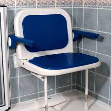 akw 4000 series extra wide shower seat with back and arms blue