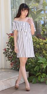 ruffle off shoulder striped sundress u2013 posh at play