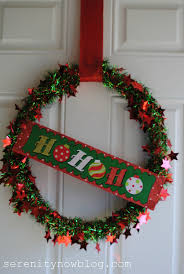 serenity now christmas tinsel garland wreath dollar tree decor