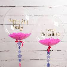 personalised birthday balloons personalised 21st birthday confetti filled balloon by bubblegum