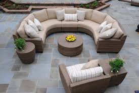Outdoor Patio Furniture Sectional - whitecraft 9pc saddleback mocha wicker curved sectional seating