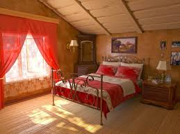 bedroom enchanting attic bedroom design with red fabric curtain
