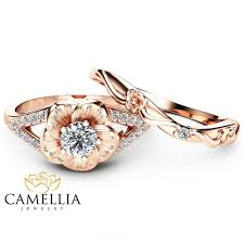 natural diamond rings images 14k rose gold engagement ring set natural diamond rings flower jpg