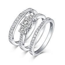 princess cut wedding set tinnivi sterling silver princess cut created white sapphire three