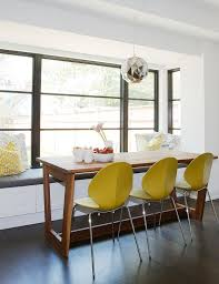 Yellow Dining Chair Modern Wood Dining Table With Yellow Dining Chairs Contemporary