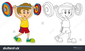 cartoon child training weightlifting coloring page stock
