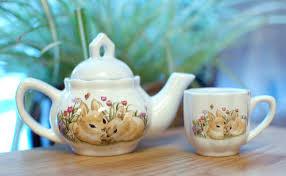 bunny tea set children s tea for two wee ones