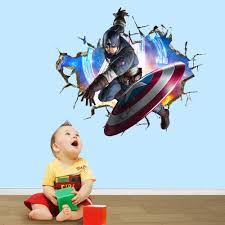 boys marvel avengers break hole wall stickers decals anime hero