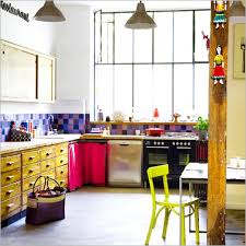 colorful kitchen design ideas with modern stove and accessories