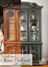 Broyhill China Cabinet Vintage Broyhill Hutch Desk Refreshed With Removable Wallpaper Prodigal