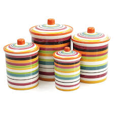 amazon com omniware rio multi stripe ceramic 4 piece canister set