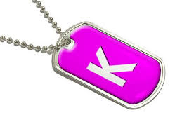buy letter k initial pink military dog tag luggage keychain in