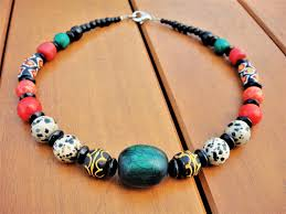 natural beads necklace images Semi precious stones tribal multistrand necklace african krobo jpg