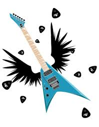 stock illustration electric guitar with wings