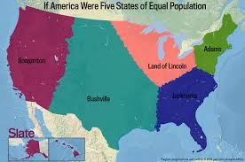 Map Of America by If Every U S State Had The Same Population What Would The Map Of