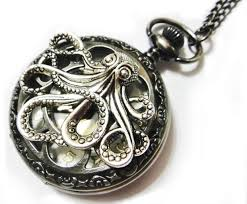steampunk pendant necklace images Octopus large steampunk dark grey pocket watch necklace gray jpg