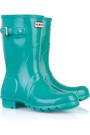 hunter original short wellington boots in blue lyst