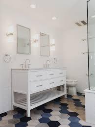 Kohler Purist Wall Sconce Hex Tile By Cle Tile Blue And Grey Tile Medley White Subway Tile