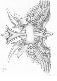 memorable cross tattoo with wings on biceps photos pictures and