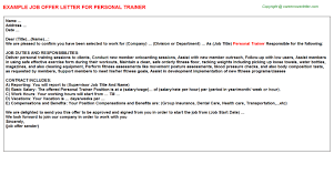 personal trainer offer letter