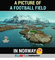 Norway Meme - a picture of a football field laughing in norway football meme on