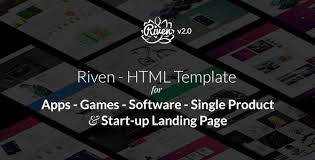 riven html template for for app game single product landing