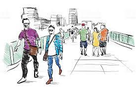 people walking free hand sketch stock vector art 673357526 istock