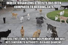 Herding Cats Meme - indeed organizing atheists has been compared to herding cats