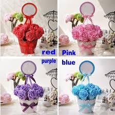 flower pot favors artificial silk flower wedding party favor candy box flower