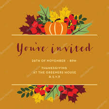 thanksgiving invitation card with brown banner stock vector