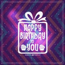 zigzag happy birthday card with white present vector free download