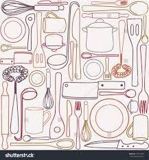 kitchen cooking utensils cutlery seamless pattern stock vector