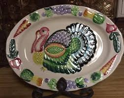 ceramic turkey platter vegetable fruit etsy