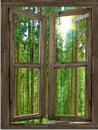 country cabin window peel stick 1 piece canvas wall mural