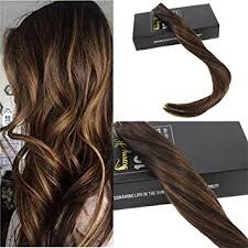 how to fade highlights in hair dark brown hairs amazon com sunny 14inch 20pcs 50g two tone color 2 fading to