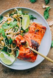 Main Dish Recipies Thai Noodle Salad With Glazed Salmon A Beautiful Plate
