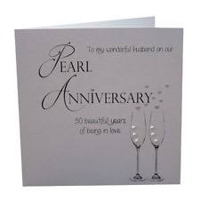 husband 30th pearl anniversary large handmade greetings card