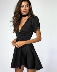 black skater dress plunge neckline satin black skater dress avela motel rocks