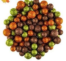 fall foam glitter balls orange green bronze bowl