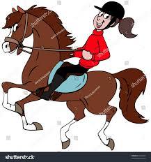 cartoon illustration riding her horse stock vector 24404020