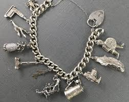 charm bracelet chain silver images Charm bracelets vintage etsy ca jpg